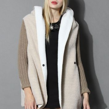 Shearling Oversized Hooded Coat in Beige
