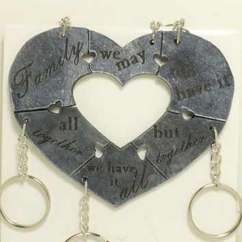 Puzzle Key chain set 6 pieces with Quote Leather key chain set