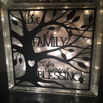 Custom decorated glass light blocks, nightlight, personalized night light, wedding gift, mothers day gift, child gift, glass block