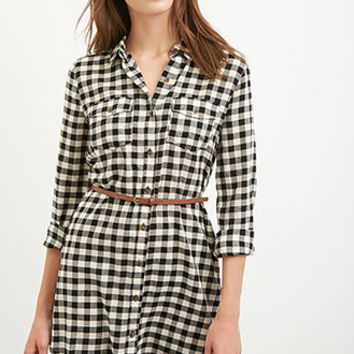 Belted Gingham Shirt Dress