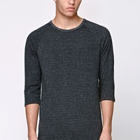 On The Byas Mateo Stripe Longline Raglan T-Shirt - Mens Shirt - Black
