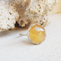 Natural caramel agate sterling silver cocktail ring, semiprecious gemstone, minimalist forged artisan jewelry, size 7