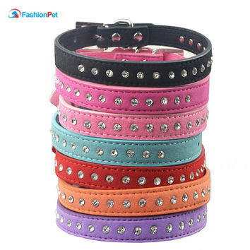 1 row Rhinestone Diamond Suede Leather Puppy Dog Cat Necklace Collars