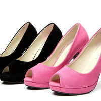 Womens Classic Chic Open Toe Pump Heels