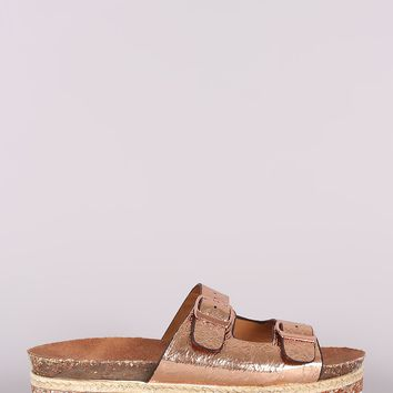 Metallic Buckled Slide Sandal For Women By Bamboo | Women Fashion Metallic Glitter Espadrille Trim Buckled Slide Sandal For Women