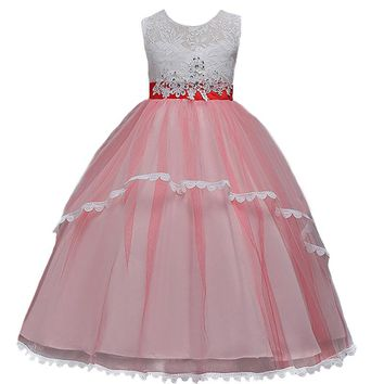 New Flower Girls Dress Diamond Sequin Lace Dress for Party Wedding Girl Christmas Princess Ball Kids Floor Long Prom Costumes