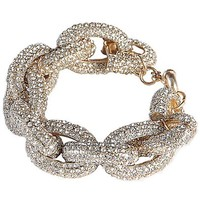 Jane Stone Cubic Zirconia Pave Thick Chain Link Bracelet Shining Bridesmaid Wedding Jewelry Gold Tone