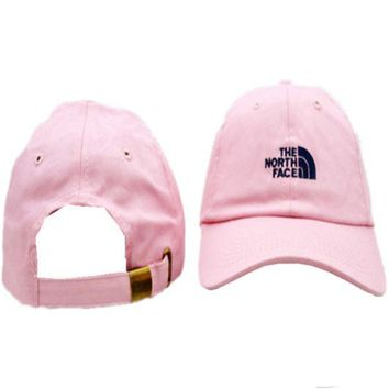 PEAPDQ7 Casual Pink The North Face Embroidered Unisex Adjustable Cotton Sports Cap Hat