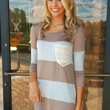 DEAL OF THE DAY! Lace Pocket Colorblock Tunic Taupe & Grey