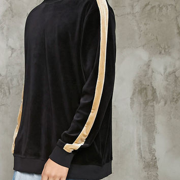 Velour Stripe-Sleeve Sweatshirt