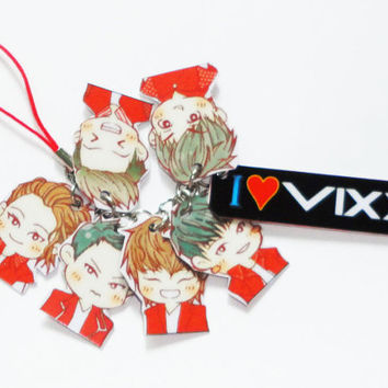 vixx / ravi / ken / leo / hyuk / N / hongbin VIXX Hard Plastic Pvc Chibi Cartoon Phone Strap Kpop super cute Korea Mobile Accessories