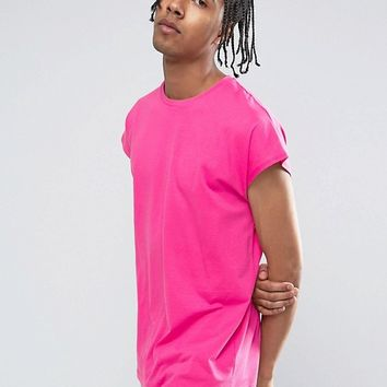 ASOS Longline T-Shirt In Oversized Fit In Pink at asos.com