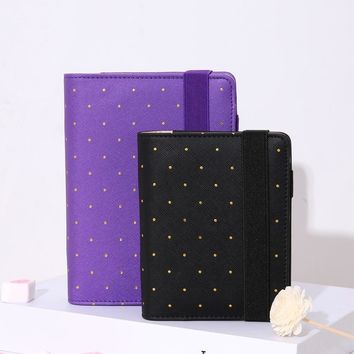2017 Yiwi Travel Journal A5 A6 A7 Polka Dot Black PU Leather Spiral Loose Leaf planner Agenda Notepad Bandage With doki Divider