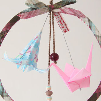 dream catcher for kid's room/ origami dream catcher/ origami mobile/ new born present/ nursery ornaments