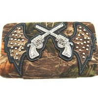 Cowgirl Soft Velvety Camo Revolver Guns w/ Angel Wings Flat Wallet Clutch Purse (black)