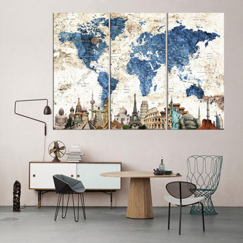 Push pin world map canvas print framed Travel world map wall art adventure world map set of 3 pieces map poster world map home decor qn89