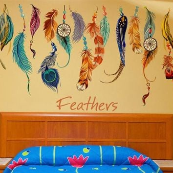 Super Deal  Classic Creative Dream Catcher Feather Wall Sticker Art Decal Mural XT