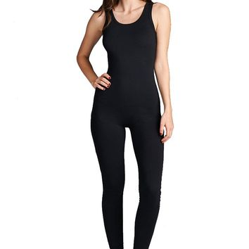 Active Sleeveless Scoop Neck Stretch Bodycon Jumpsuit