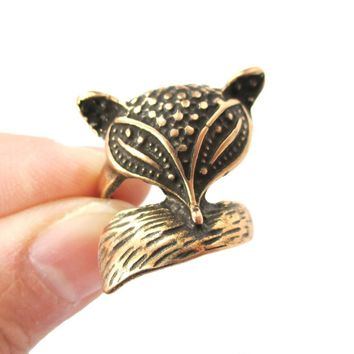 Abstract Fox Face Shaped Animal Wrap Around Ring in Bronze | US Size 5 Only
