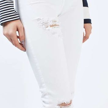 MOTO White Super Ripped Jamie Jeans