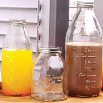 Set of 3 Clear Glass Milk Bottles with Capacity Measuring Marks & Lids.