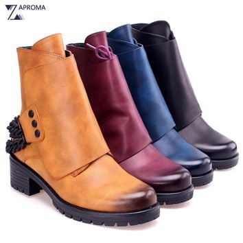 2018 Western Boots Women Chain Square Heel Brown Ankle Boots Lace Up Rivet Fleeces Round Toe Punk Shoe Med Heel Autumn Winter