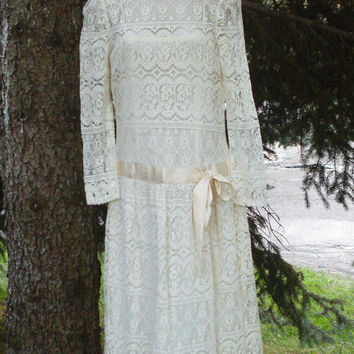 60s 70s Ivory Lace Dress 20s Gatsby Style Dropped Waist Tea Length NOS Never Worn ILGWU Label