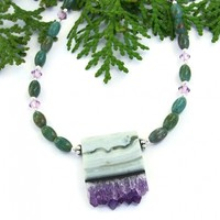 Amethyst Stalactite Druzy Necklace, Green Verdite Purple Swarovski Crystals Handmade Jewelry