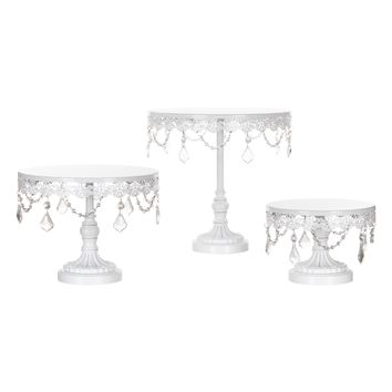 3-Piece Crystal Cake Stand Set (White)