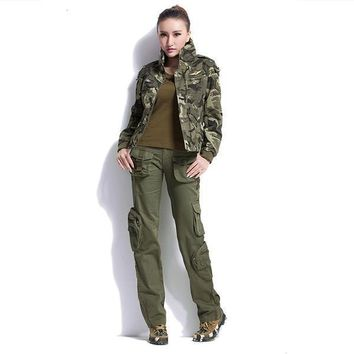 Large Size Cargo Pants Women Military Clothing Tactical Pants Multi Pocket Cotton Joggers Sweatpants Army Green