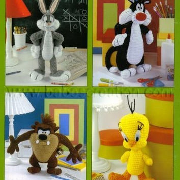 50% OFF Sale Bugs Bunny Sylvester Tazmanian Tweety Amigurumi Cartoon Pattern : INSTANT DOWNLOAD Crochet Pattern