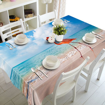 NEW 3D Tablecloths Seaside Birds printing Waterproof/oil-proof Washable Thicken Rectangle Dining Table Tea Table Cloth-T016