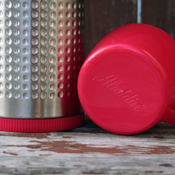 Vintage Aladdin Thermo King Red and Aluminum Thermos