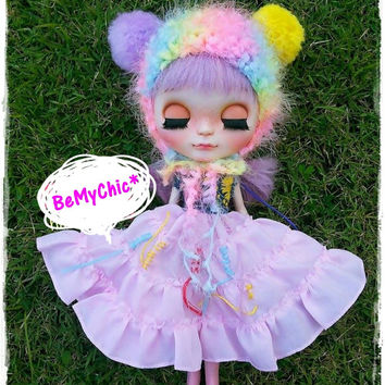 Blythe Doll Hat Outfit Dress Cloth Accessory - Super Cute Rainbow knit Hat Helmet