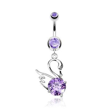 Tanzanite CZ Centered Swan Dangle Belly Button Ring