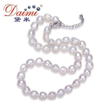 Daimi Genuine Baroque Pearl Necklace, Trendy Necklace For Woman, New Bijouterie Fine Jewelry 9-10 mm, Choker Necklace