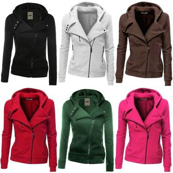 Womens Zipper Hoodie Hooded Sweatshirt Coat Jacket Casual Jumper Outwear Top