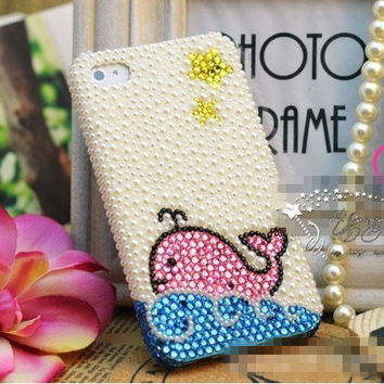 Lovely whale iphone case iphone 5 case, iphone 4 case, Bling iPhone 5 case,iphone 5 skin,cute iphone 4s case cover