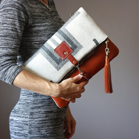 Indian wool blanket leather bag, Large Leather foldover clutch, fold over bag, fold over purse, wool fabric and rust leather clutch, tassel