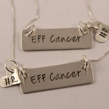 """""""EFF Cancer"""" Custom Hand Stamped Sterling Silver Necklace"""
