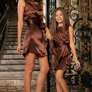 Chocolate Brown Sleeveless Shift Mommy and Me