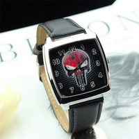 2017 Vintage Retro The Punisher Skull Dial Quartz Watch Men Women leather Watches lovely boys and girls Halloween gift Watch