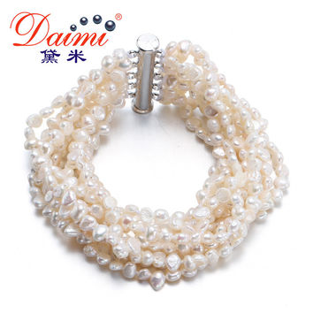 DAIMI Gorgeous Bracelet 10 Strand Freshwater Pearl Together Vintage Jewelry