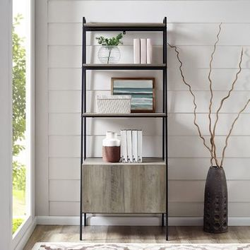 Industrial Modern Gray Wash Ladder Bookshelf with Storage Cabinet