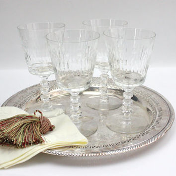 Vintage Cut Crystal Water Goblets / SET of 4 / Tiffin-Franciscan Glass / Elegant Stemware