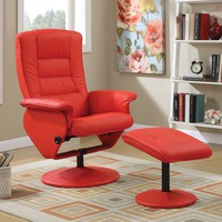 Arche Recliner Chair & Ottoman, 2 Piece Pack, Red