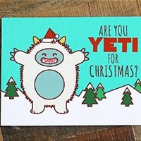 Funny Christmas Card - Are you Yeti for Christmas? - pun card, cute yeti, funny holiday card, xmas cards, greeting card, happy holidays