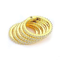 5 Stacked Rows of Cubic Zirconia Eternity Bands (14K Yellow Gold)
