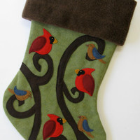 Bird Christmas Stocking--Cardinal Curls