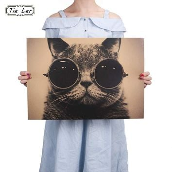 Cool Handsome Cat Sunglasses Rock Animal Kraft Paper Bar Poster Retro Poster Decorative Painting Wall Sticker